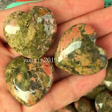 TOP!  Natural Lapis lazuli heart quartz crystal hand-polished healing  5pc
