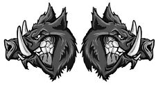 GREY BOAR PIG HOG HUNTING VINYL DECAL  80Mm by 84 Mm Left And Right STICKER