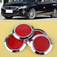 4X Rot Verchromt Auto Reflektierend Aufkleber Selbstklebend Car Runde Reflektor