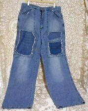 Barcode Mens Blue Denim Brown Wash Jeans Pants 36x34 Hip Hop Baggy distressed