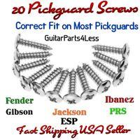 20 Chrome Guitar Pickguard Mounting Screws Fits Fender® Tele® Strat® USA Seller!