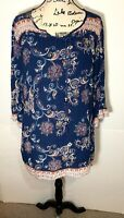 Angie Tie Front Blouse Tunic Size L Navy Blue Floral