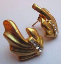 boucles d'oreilles percées ancien bijou vintage couleur or cristal diamant 3384