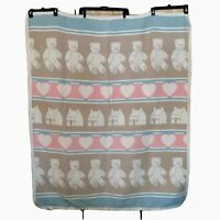 Vtg REVERSIBLE 44 x56 Childs BLANKET WOVEN COTTON BABY BEAR HEARTS VGC