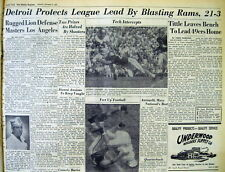 1954 newspaper DETROIT LIONS beat LOS ANGELE RAMS NFL football Championship game