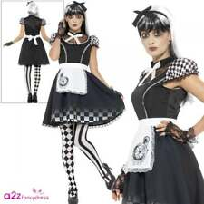 Ladies Gothic Alice Outfit Dark Tea Party Wonderland Halloween Adult Fancy Dress