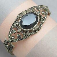 Vtg Art Deco Sterling Silver Openwork Natural Hematite Marcasite Bracelet