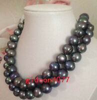 "double strands 11-12mm tahitian baroque black green pearl necklace 18""19"" 14k"
