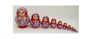 10 Pezzi Dalla Russia Nidificazione Bambola - Matrioska #3404 Rosso