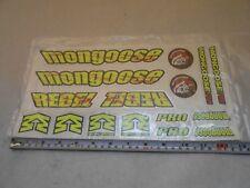 Mongoose Rebel Pro BMX Bike Frame & Fork Decals 16 Stickers Neon Yellow Black
