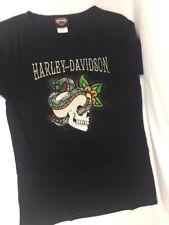 HARLEY Davidson Moto Donna Nero Teschio Logo Cotton T Shirt Grande Nuovo