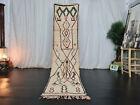 Moroccan Boujad Handmade Vintage Runner 2'3x9'5 Geometric Beige Berber Wool Rug
