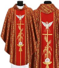 """Red Gothic Chasuble with stole """"Holy Spirit"""" 007-C34g Casulla Roja Casula Rossa"""