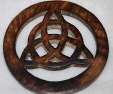 "Wooden Triquetra Altar Tile 4"" Wicca, Pagan, Protection, Elemental"