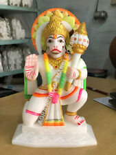 "10"" Marble Decorative Hanuman Ji Hand Painted Statue Hinduism Gift Decor E1305"