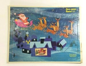 VTG Kids Christmas Puzzle Here Comes Santa On Rooftop with Reindeer