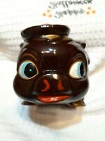 Vintage Mid Century Ceramic Piggy Bank Brown with red hat.