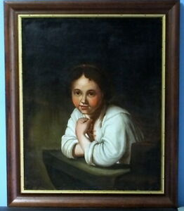 "Ca. 1775 Fine Oil on Canvas After Rembrandt's ""Girl at a Window"""