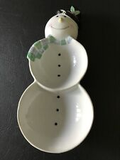 Snowman Shaped Ceramic Plate Candy Dish  Christmas