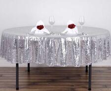 """TRLYC 120"""" Round Silver Sequin Table Cloth Wedding Party Home Hall Decoration"""