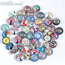 50pcs/lot High Quality 18mm Glass Snap Button Mixed Pattern Fit Snaps Jewelry