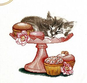 """Thea Gouverneur """"Sweet as Sugar"""" Kitten Cupcake Counted Cross Stitch Kit"""