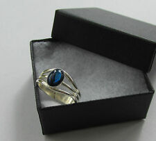 Handmade Gift - Gorgeous Blue Abalone Shell Inset - Silver Plated Charm Ring