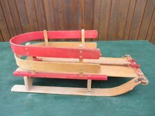 Antique Wooden Baby Sled Wooden Runners and Wooden Handle Signed MASTERCRAFT