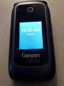 ZTE Consumer Cellular Z2332CC Bluetooth Gray Black Flip Phone