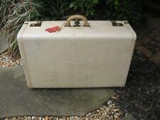 """Vintage B ALTMAN Luggage Suitcase 26"""" WHITE Leather Atlanta travel tags CB mono"""