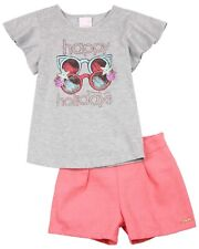 QUIMBY Girl's T-shirt with Glasses Print and Shorts Set, Sizes 4-12