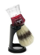 Shaving Brush With Stand Wine Red Pig Bristles Dachs-Optik Omega Made IN Italy