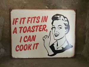 Heaven Sends retro style 'If it fits in the toaster' metal kitchen sign 33cm