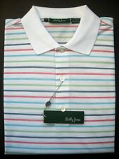 NWT Mens Bobby Jones Golf Polo Shirt Golfer Placket White Striped Large L