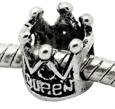 Queen Crown Fairytale Bead fits Silver European Jewelry Style Charm Bracelets