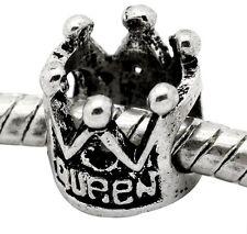 Queen Crown Fairytale Bead fits Silver European Jewelry Style Charm Bracelets