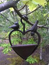 Rustik Gusseisen Wandbehang Garten Futterstelle für Vögel Herz Wildblumen Wasser