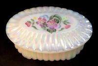 Fenton Hand Painted Primrose On Milk Opal Carnival Oval Box Signed M. Wagner