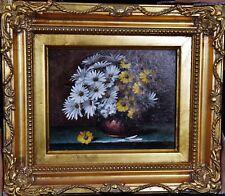 Bild Öl/ Lwd. BLUMEN schönes Gemälde im Rahmen signiert