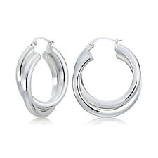 Sterling Silver Square-Tube 25mm Crossover Double Round Hoop Earrings
