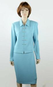 St John Evenings Womens Knit Skirt Suit Sz (Jacket 12/Skirt 10) Cancun Blue USA