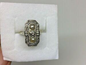 Art deco Ring mit Diamant, 585, oben 835 Silber