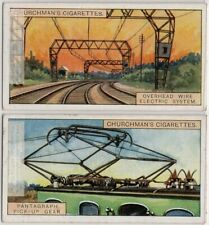 Electric Train Overhead Wire System and Pantagraph Pickup Gear TWO Trade  Cards