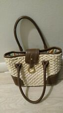 Chaps Brown Leather/ Rafia Handbag Tote
