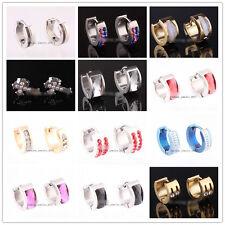 Wholesale 240X CZ Crystal Stainless Steel Silver Hoop Stud Huggie Earrings FREE