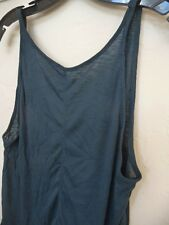 People 4331 Size Large L Womens Teal Ribbed Tank Top Open Back
