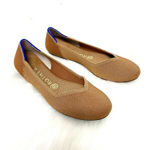 Rothy's 7.5 Flats Round Toe Electric Orange Cute Comfort Shoes Sustainable