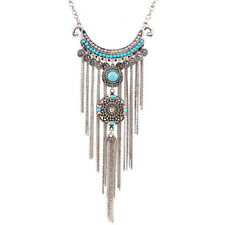KM_ Womens Bohemian Turquoise Long Tassels Pendant Necklace Alloy Choker Chain