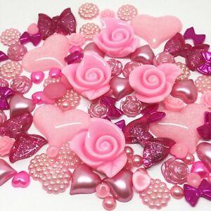 100 Mixed Flatbacks Resin Pearls Embellishments Cabochon Card - BUY 5 GET 1 FREE