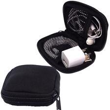 Black Neoprene Zipper Headphone Mp3 Charge Usb Cable organizer Pouch Sleeve case